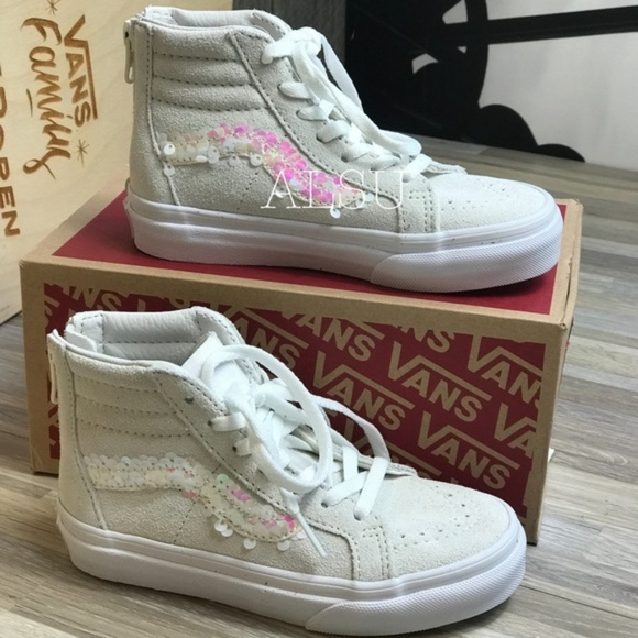 d3b7baf110 NWT VANS SK8-HI Zip Sequins White Kid's AUTHENTIC NWT
